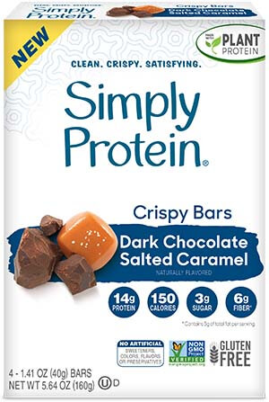 image of SimplyProtein® Crispy Bars - Dark Chocolate Salted Caramel  (4-bar box)