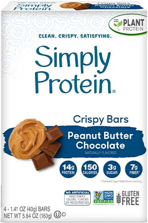 image of SimplyProtein® Crispy Bars - Peanut Butter Chocolate (4-bar box)